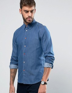 Джинсовая узкая выбеленная рубашка PS by Paul Smith - Синий