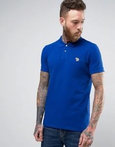 Синее узкое поло из ткани пике с логотипом-зеброй PS by Paul Smith - Синий