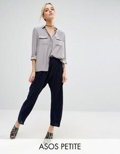 Плиссированные брюки-галифе ASOS PETITE - Темно-синий