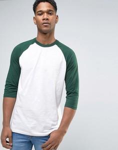 Темно-зеленая футболка с рукавами реглан New Look - Зеленый
