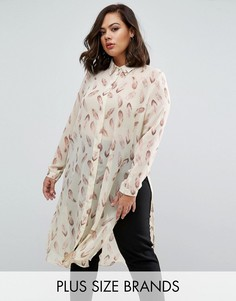 Удлиненная рубашка с принтом перьев Koko Plus - Кремовый