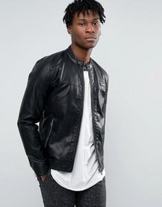 Байкерская куртка из искусственной кожи на молнии Only & Sons - Черный