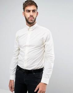 Рубашка скинни в золотистый горошек и с планкой на воротнике Noose & Monkey - Белый