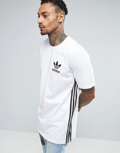 Белая длинная футболка adidas Originals BK7592 - Белый