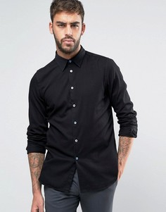 Черная джинсовая рубашка узкого кроя в строгом стиле PS by Paul Smith - Черный