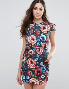 Платье-тюльпан с цветочным принтом Madam Rage - Мульти