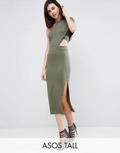 Облегающее платье миди на одно плечо с вышивкой ASOS TALL - Зеленый