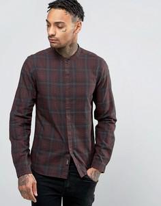 Узкая темная рубашка в клетку Replay - Красный