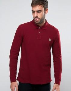 Темно-красная футболка-поло с длинными рукавами и логотипом PS by Paul Smith - Красный