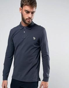 Темно-серая футболка-поло с длинными рукавами и логотипом PS by Paul Smith - Серый