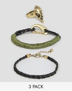 Кольцо и браслет с черепом ASOS - Мульти