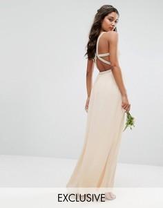 Платье макси с бретельками сзади и отделкой TFNC WEDDING - Розовый