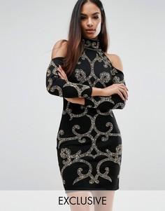 Платье мини с узором из пайеток Starlet - Черный