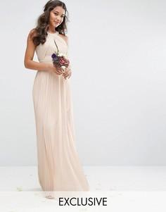 Плиссированное платье макси TFNC WEDDING - Розовый