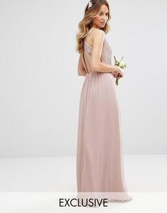 Платье макси с плиссировкой и отделкой сзади TFNC WEDDING - Розовый