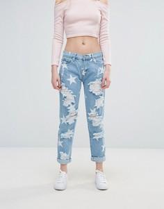 Рваные джинсы со звездами Glamorous - Синий