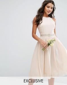 Декорированное платье миди с пышной юбкой TFNC WEDDING - Розовый