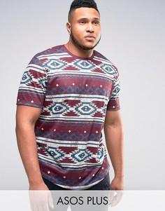 Длинная футболка с ацтекским принтом ASOS PLUS - Красный