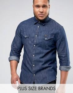 Выбеленная рубашка цвета индиго в стиле вестерн Wrangler PLUS - Темно-синий
