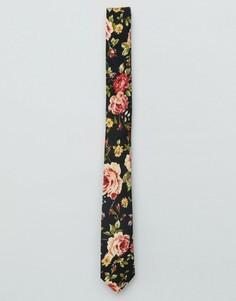 Узкий галстук с цветочным принтом ASOS - Темно-синий