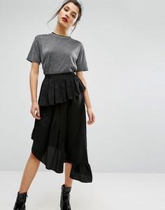 Атласная юбка миди ASOS - Черный