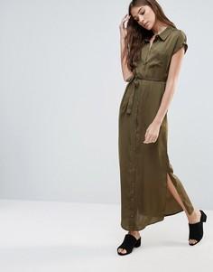 Длинное атласное платье-рубашка Influence - Зеленый