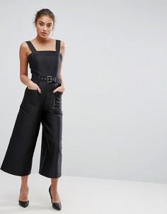 Комбинезон с широкими штанинами ASOS Premium - Черный