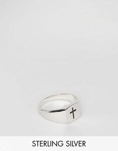 Серебряное кольцо-печатка английской пробы с крестом Serge De Nimes 950 - Серебряный