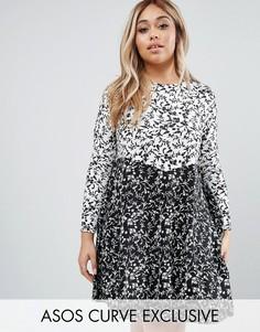 Короткое приталенное платье с круглым вырезом и комбинированным принтом ASOS CURVE - Мульти