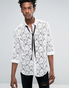 Белая кружевная рубашка классического кроя с завязкой ASOS - Белый