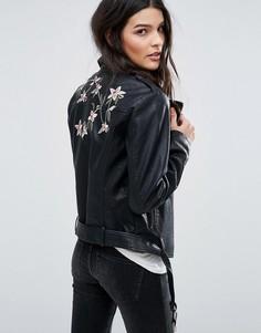 Байкерская куртка из искусственной кожи с вышивкой Vila - Черный