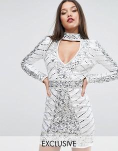 Декорированное платье мини с горловиной-чокер Starlet - Белый
