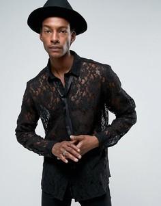 Черная кружевная рубашка классического кроя с завязкой ASOS - Черный