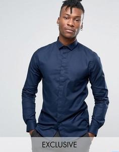 Однотонная жаккардовая рубашка скинни Heart & Dagger - Темно-синий