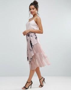 Атласная юбка с кружевом и цветочным принтом ASOS - Мульти