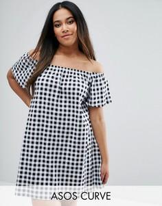Платье в клеточку с открытыми плечами ASOS CURVE Boho - Мульти