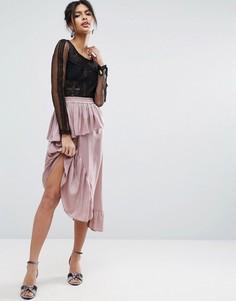 Атласная юбка миди ASOS - Коричневый