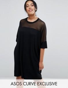 Платье-футболка с сетчатой кокеткой ASOS CURVE - Черный