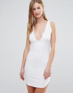 Облегающее платье с глубоким вырезом спереди Daisy Street - Белый