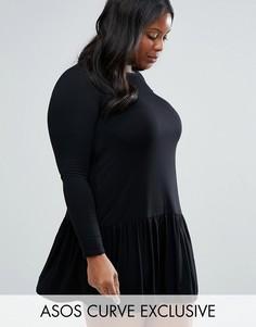 Цельнокройное платье с заниженной талией ASOS CURVE - Черный