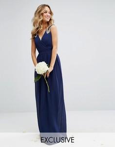 Платье макси с запахом и отделкой TFNC WEDDING - Темно-синий