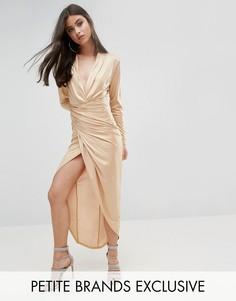 Платье макси с запахом спереди John Zack Petite - Золотой
