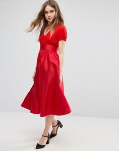 Платье миди с короткими рукавами Traffic People - Красный