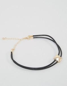 Двойной браслет-веревочка на ногу с золотистой отделкой DesignB - Черный