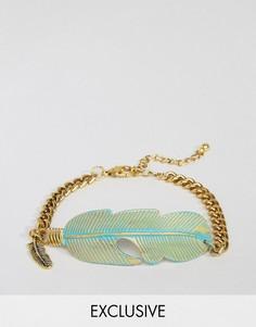 Золотистый браслет-цепочка с пером DesignB - Золотой