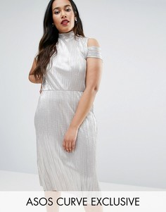 Блестящее плиссированное платье миди с вырезами на плечах ASOS CURVE - Золотой