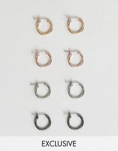 Набор из 4 пар серег-колец DesignB - Мульти