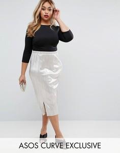 Блестящая плиссированная юбка миди ASOS CURVE - Золотой