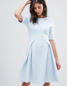Короткое приталенное платье с плиссировкой Traffic People - Синий