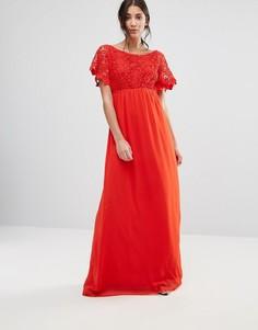 Кружевное платье макси с короткими рукавами Traffic People - Красный